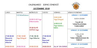 Calendario de actividades diciembre 2018 de Espai Conexió en Alaquàs. Centro de fomento de bienestar físico y emocional. Yoga e Inteligencia emocional y talleres variados.