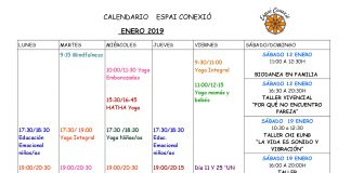 Calendario Espai Conexió enero 2018
