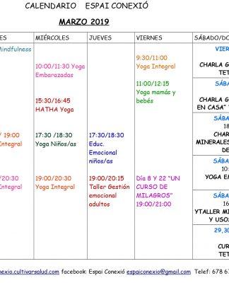 Calendario marzo Espai Conexió en Alaquas, centro de yoga e inteligencia emocional