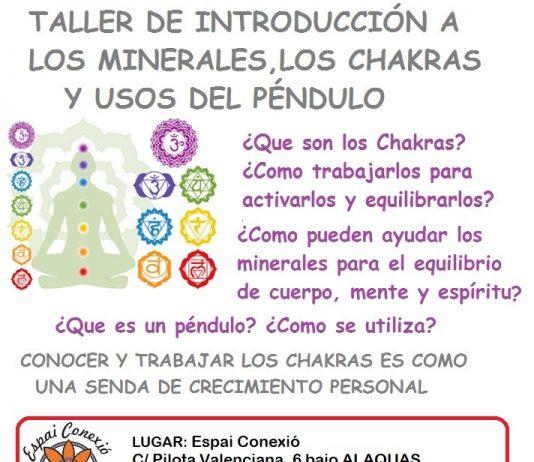 Charla y taller minerales, chakras y usos del péndulo en Espai Conexió, Alaquàs. Centro de yoga e inteligencia emocional