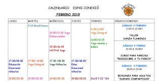 Calendario febrero Espai Conexio, Alaquàs. Yoga, inteligencia emocional, mindfulness, UCM, Talleres, Conferencias, Cursos