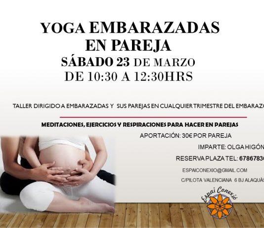Taller yoga embarzadas en pareja en Alaquas, Espai Conexió, centro de yoga e inteligencia emocional.