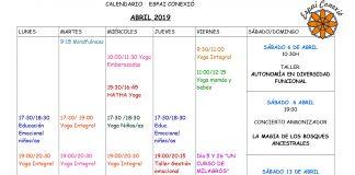 Calendario abril Espai Conexió. Centro de Yoga e Inteligencia emocional. Coach, PNL, Talleres, cursos,