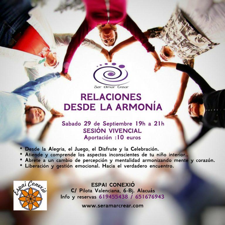 Taller Vivencial Relaciones desde la Armonía. Sábado 29 septiembre