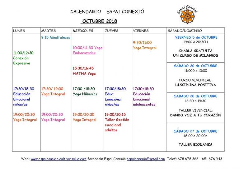 CALENDARIO ACTIVIDADES OCTUBRE 18