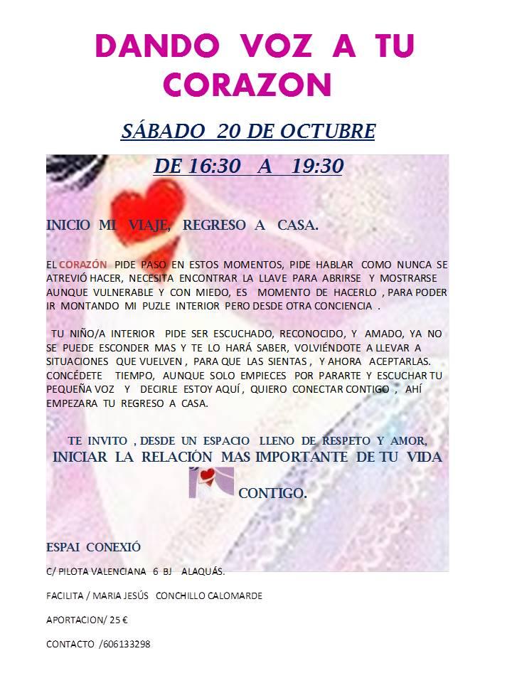 Taller: «Dando Voz a Tu Corazón». Sábado 20 octubre