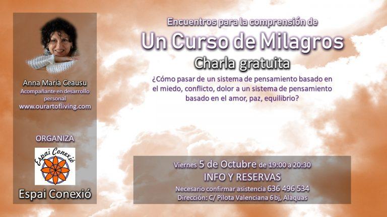 Charla gratuita «Un Curso de Milagros». Viernes 5 octubre
