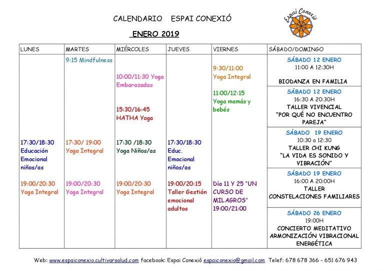 Calendario Actividades  Enero Espai Conexió en Alaquàs