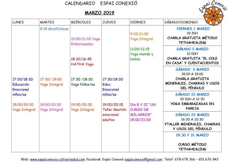 Calendario marzo Espai Conexió