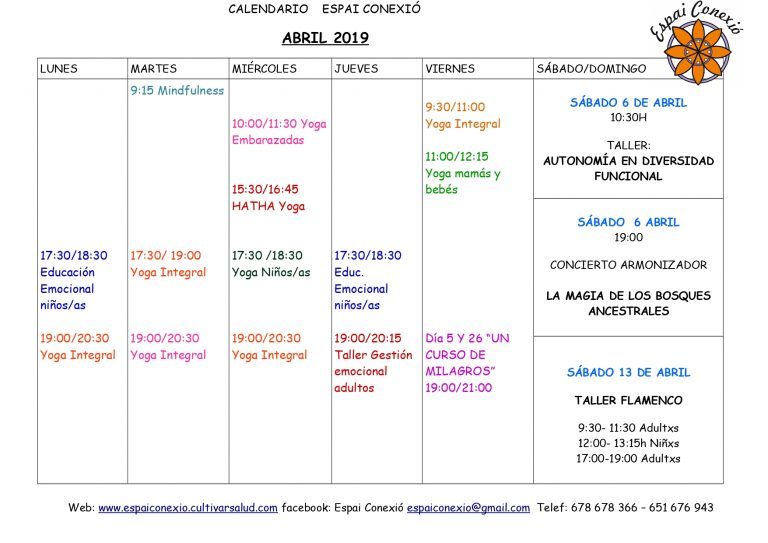 Calendario abril Espai Conexió