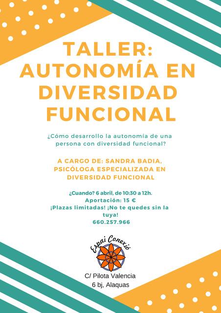 Taller autonomía en diversidad funcional en Alaquàs