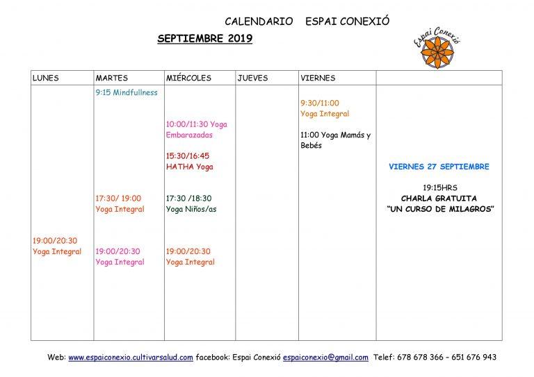 CALENDARIO DE ACTIVIDADES DE ESPAI CONEXIÓ SEPTIEMBRE 19
